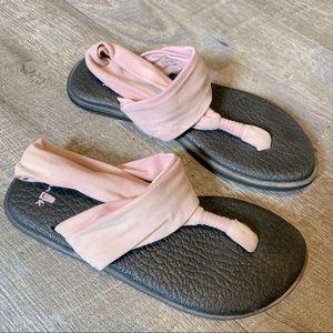 Sanuk Wrap Yoga Sandals Pink and Black Size 6